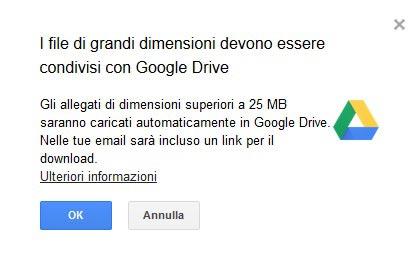 Dimensione allegati Gmail